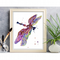 WATERCOLOUR Dragonfly Art Print - 8x10 inches