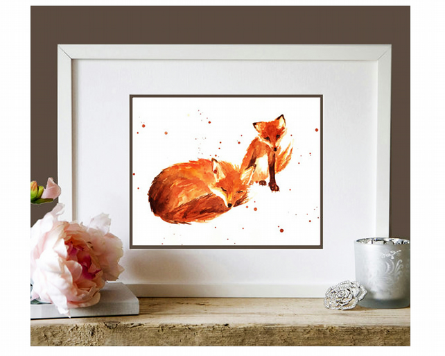 Sweet Mother and Baby Fox Watercolour Print