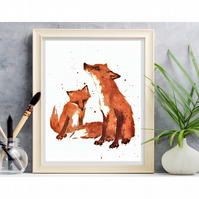 WOODLAND Nursery FOX Print - 8x10 inches - ready to frame