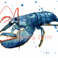 Watercolour LOBSTER Art Print for the BATHROOM