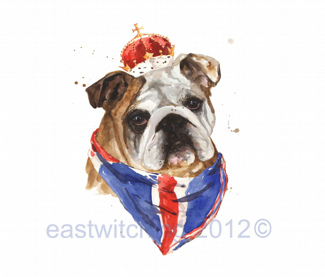 Best of British, Bulldog Print, English Bulldog, London, funny animals