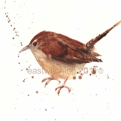 Wren Painting - Print taken from original - 8x10inches  - Timid Wren
