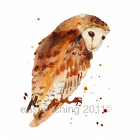OWL Watercolour Art Print 8x10 inches