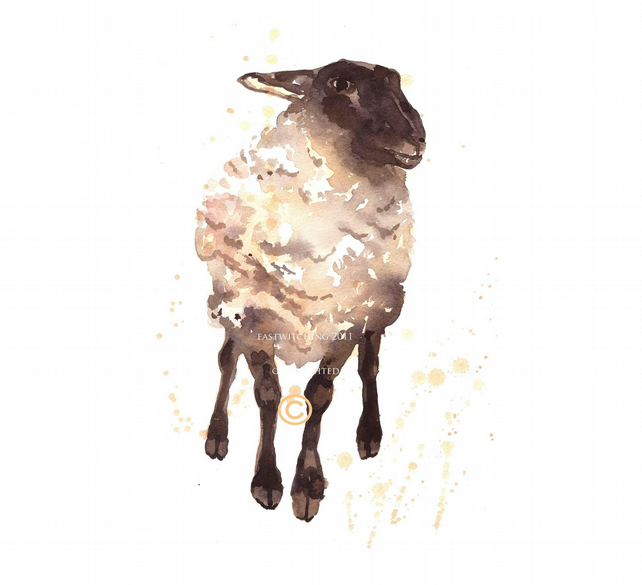 Sheep Art Print, for the fiber addict in your life, sheep painting, sheep