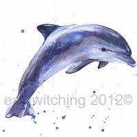 Dolphin Art Print , blue nursery art, dolphin,