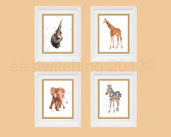 Adventurous SAFARI Animal Prints, safari animals, nursery art, kids art