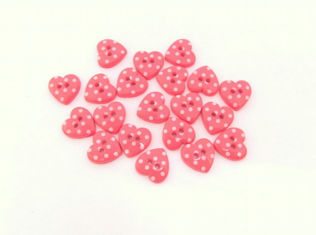 Pink and white heart buttons: 20 spotty plastic buttons for craft.