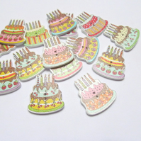 Pack of 15 birthday cake buttons: embellishment for sewing, scrapbook