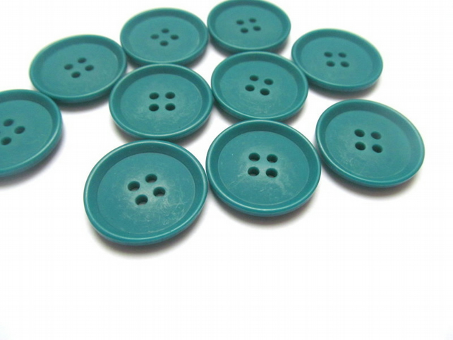 Pack of 10 jade green buttons: 4 hole plastic buttons for sewing, craft