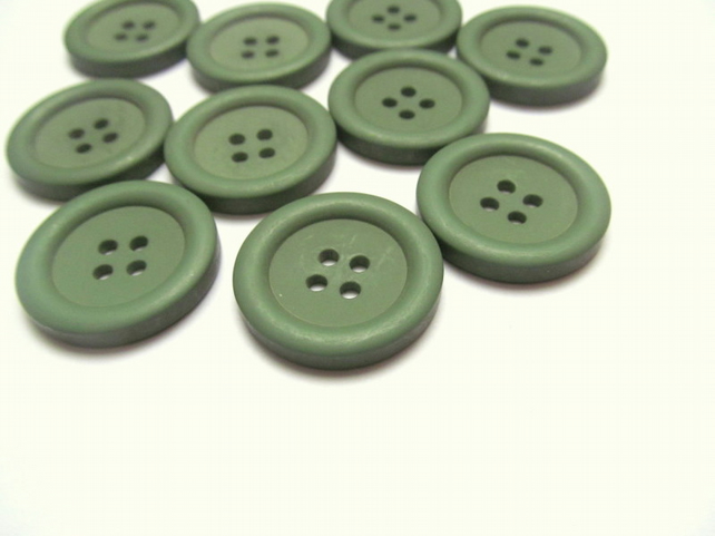 Pack of 10 olive green buttons: 4 hole 25mm  plastic buttons for sewing, craft