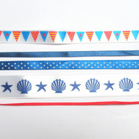 Seaside themed ribbon pack: 5x 1m pieces of red, blue, white ribbon for craft