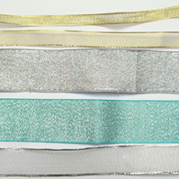 Metallic ribbon pack: 5x 1m pieces of gold, silver, blue ribbon for craft