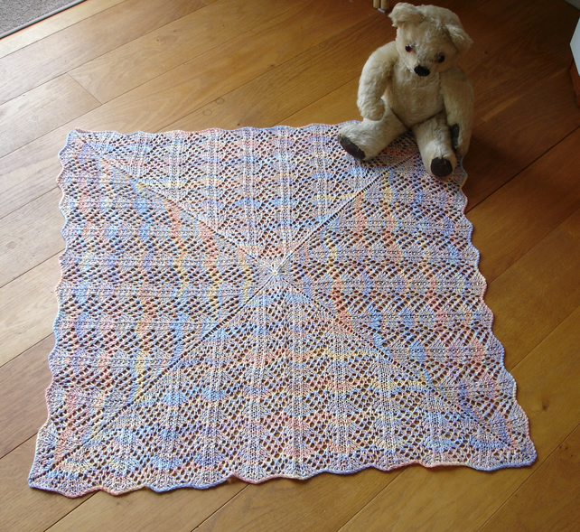 Square hand-knitted non-allergic Baby's Blanket