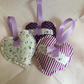 Trio of handmade lavender hearts