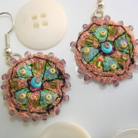 SALE embroidered and beaded earrings