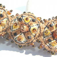 Embroidered and beaded hair clip / slide.... SALE