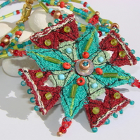 Embroidered and beaded neckpiece / necklace