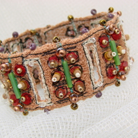 Embroidered and beaded cuff / bracelet