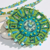 Embroidered and beaded neckpiece, Grace / Ocean