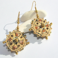 Embroidered and beaded earrings, SALE