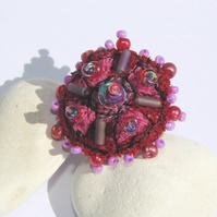 Embroidered and beaded ring, SALE