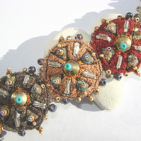 Embroidered and beaded cuff  /bracelet