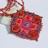 Embroidered and beaded neckpiece / necklace, SALE