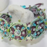 Embroidered and beaded cuff/bracelet