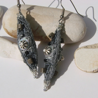 SALE embroidered and beaded earrings.....