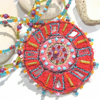 Embroidered and beaded neckpiece, Grace / Jazz