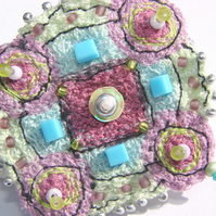 SALE embroidered and beaded brooch / pin