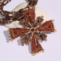 SALE embroidered and beaded neckpiece / necklace