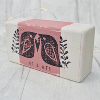 Wooden Love Birds Block - personalised wedding gift - Mr & Mrs