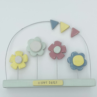 Wooden flowers Ornament with Bunting in sorbet hues