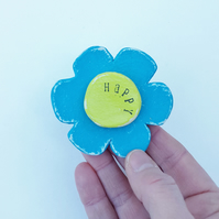 Wooden flower brooch turquoise and lime , happy words