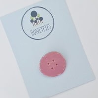Dusky Pink Wooden Button Brooch, button pin, rustic wood