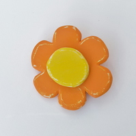 Wooden flower brooch in orange and yellow, summer pin,