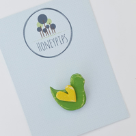 Wooden bird brooch, birdy pin, bird badge, spring green and yellow brooch