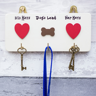 Keys and Dog Lead Hook Hanger - Personalised - House warming - Valentines