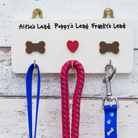 Dog Lead Hanger - Personalised Lead Holder - Gift for Dog Owner -New Home Gift