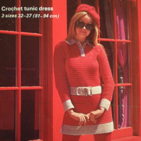 Vintage Crochet Pattern 008 Mod Mini Dress Piccadilly from WonkyZebra