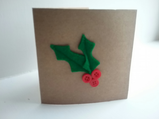 Homemade holly Christmas cards