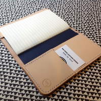 A6 Leather Notebook Cover & card slot can be Personalised with Initials