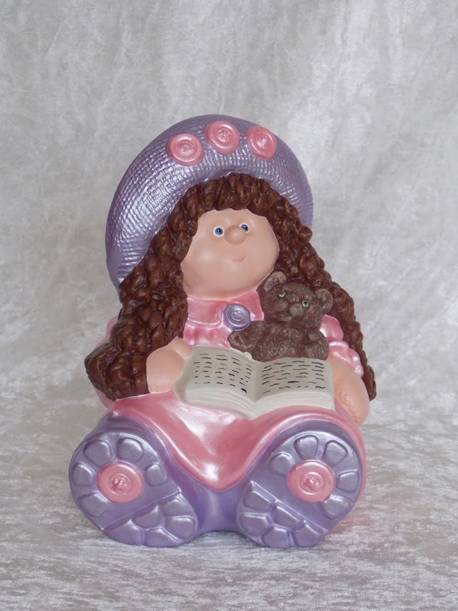 Hand Painted Ceramic Button Buddy Pink Lilac Ragdoll Teddy Bear Book Money Box.