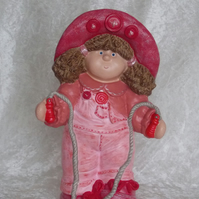 Hand Painted Large Ceramic Button Buddy Girl Figurine In Pink Ornament.