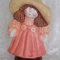 Hand Painted Large Ceramic Standing Button Buddy Girl Figurine In Peach Ornament