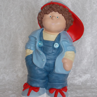Hand Painted Large Ceramic Standing Button Buddies Boy Figurine In Blue Ornament