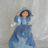Hand Painted Standing Ceramic Figurine Lady Spring Autumn In Blue Ornament.