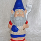 Hand Painted Novelty Ceramic Garden Gnome In Red & Blue Ready For A BBQ Ornament