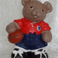 Hand Painted Large Standing Ceramic Brown Bear Rugby Player With Ball Ornament.